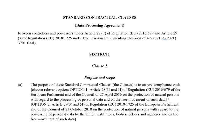 EU-kommisjonens databehandleravtale